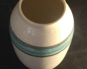 Teal and black vase