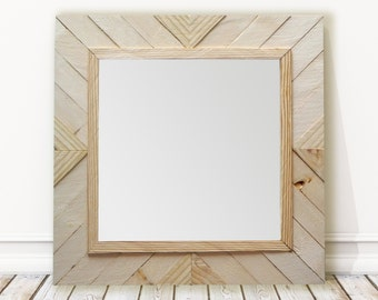 Reclaimed Wood Mirror | Natural Wooden Mirror | Handmade Mirror