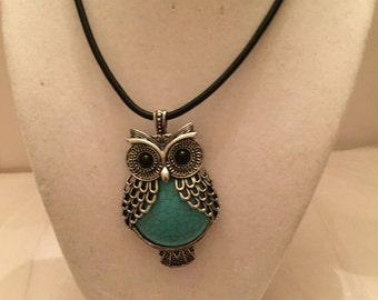 Turquoise Owl Pendant Necklace