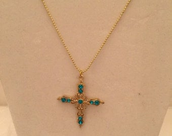 Elegant Emerald Cross Necklace/Pendant