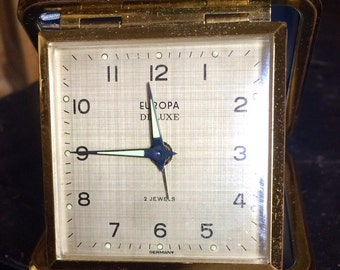 Vintage German Europa 2 Jewels Folding Travel Alarm Clock