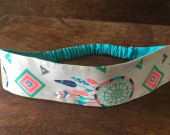 Headband, Reversible Headband, cotton headband, boho headband, reversiblr boho, Workout Headband, Yoga Headband, dreamcatcher headband