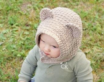 Crochet PATTERN Caiden Bear Hood - Instant PDF Download