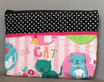 Makeup Bag, Kitten, Cat, Travel Bag, Polka Dot, QB1614