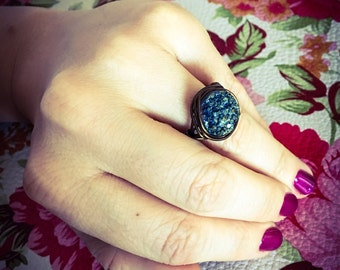 Stoned- Blue Druzy Vintage Bronze Wire Wrapped Ring-SZ 6