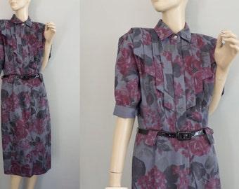 80s Willys Rose Print Dress short Dolman sleeves Gray Floral Midi Dress M