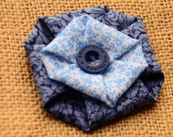 Double Flower Fabric Hair Clip
