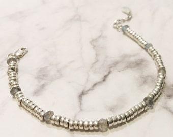Labradorite and Sterling Silver Friendship Bracelet