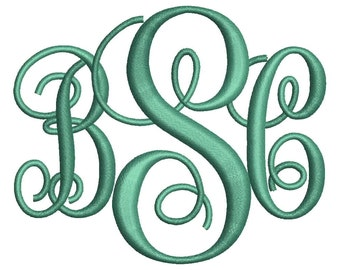 Interlocking Monogram Embroidery Font 4 Sizes Machine BX Embroidery Fonts Embroidery Monogram Fonts 3 Letter Monogram - Instant Download