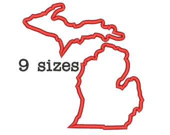 9 Sizes Michigan State Appliqué Embroidery Machine Embroidery Designs Embroidery USA State Outline Design - Instant Download