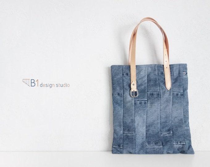 Denim Tote Bag, Indigo Denim Handbags, Vintage Tote Bag, Leather Tote Bag, Vintage Jeans Bag, Gift for Her, Handmade tote bag, Street bag
