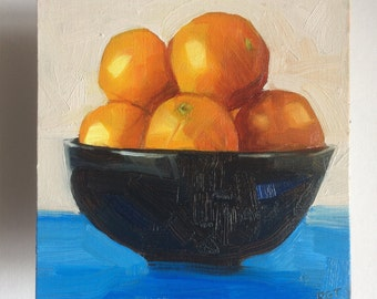Bowl of Oranges Oil Sketch Painting