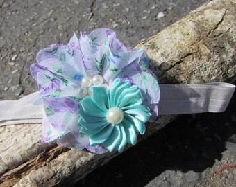 Flower Baby Headband~ Purple Infant Headband~Baby Girl Headband~ Light Blue Headband~Toddler Headband~Aqua Headband