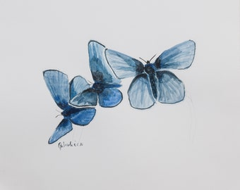 Watercolor print by me made, butterflies