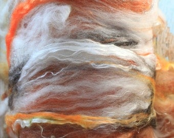 Autumn Equinox Hand carded art batt, Merino and Mulberry Silk, 4.3 oz, For Spinning Weaving Felting and Fiber Art.