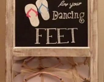 Wedding guests shoes wood chalkboard/easel