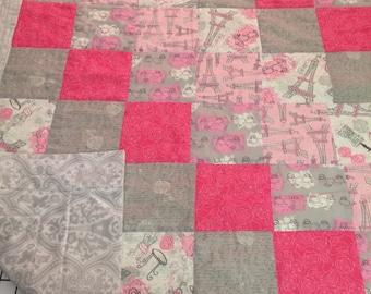 Pink Paris Baby Quilt