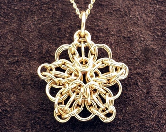 """Tiny Celtic Star Chainmail Pendant - 14kt Gold Fill with 18"""" Chain"""
