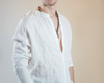 Linen Shirt with Long Sleeves and Open Neck-line
