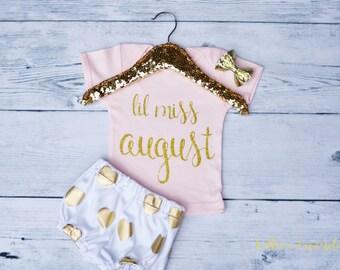 Miss August Shirt, Pink Birthday Shirt, First Birthday Shirt