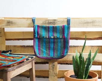 Boho Crossbody Bag - Handwoven Naturally Dyed Organic Cotton - Made in Cusco