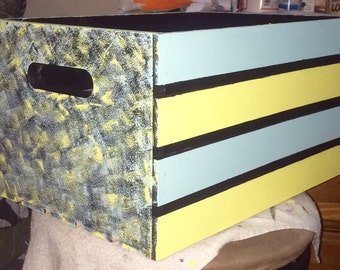 Painted wood crate