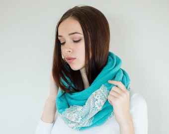 Infinity Scarf with Lace | Cowl Scarf Womens Scarves Fashion Scarves Jersey Knit Scarf | Turquoise and Champagne