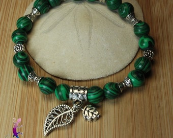 Malachite Bracelet with silver metal leaves charms