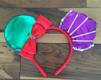 Ariel Ears, Custom Ariel Mickey Ears, Disney Inspired Custom Minnie Ears