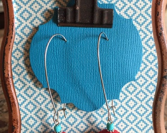 Asian Inspired, Red & Turquoise Drop Earrings
