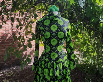 Vintage 60s Modern Modern Green and black Gogo dress Young Edwardian
