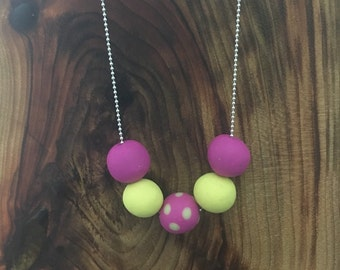 Purple and yellow clay necklace