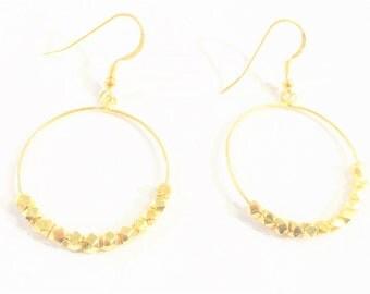 Square Beaded Vermeil Earrings