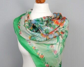 1970's Vintage Silk Chiffon Green Floral Scarf
