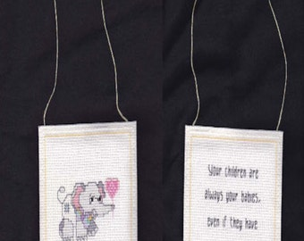 Completed Cross Stitch Grey Haired Children Hanging Dodad