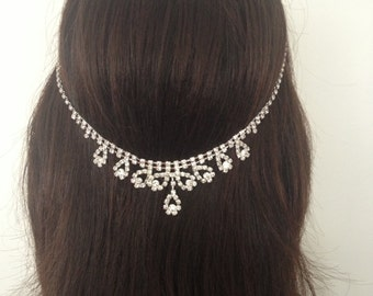 Rhinestone Bridal Hair Floater. Bridal Headpiece. Wedding Hair Accessory.