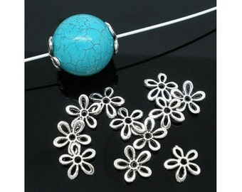 Silver Flower Bead Caps - 11mm - 20 Pieces