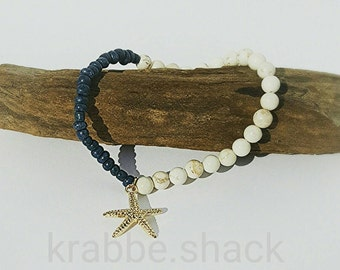 Nautical bracelet with gold plated starfish.