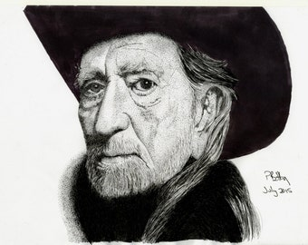 Pen & Ink Drawing, A4 - Willie Nelson