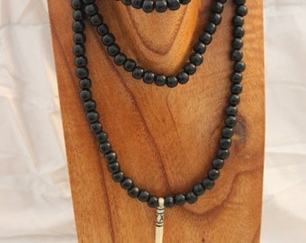 Black Wooden Beaded Tribal Necklace