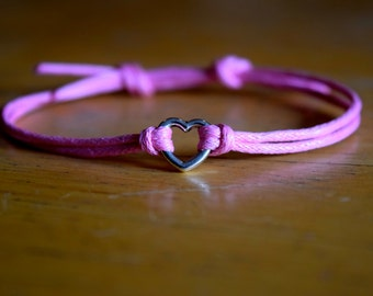 Infinity Bracelet, Heart Charm, Waxed Cotton, Adjustable, Antique Silver Infinity Charm, Pink Waxed Cotton, Infinite Love, Friendship Gift