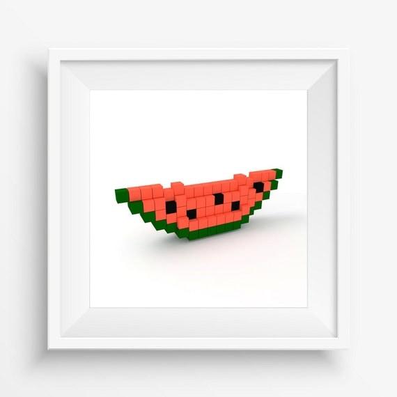 Items Similar To Melon Pixel Art Print Kitchen Digital 3D