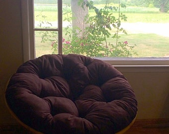 Round Papasan Chair; Comes With Brown Handmade Cushion and a Optional Custom Cushion Cover in Choice of Color