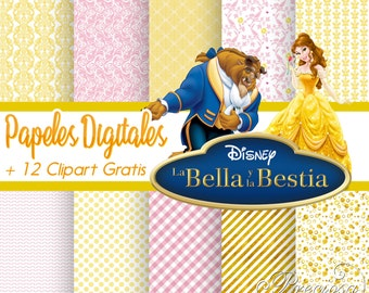 Papers digital it beautiful and the beast + 12 Clipart Free PNG