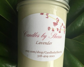 Soy Candle Lavender Vanilla Soy 8 oz.
