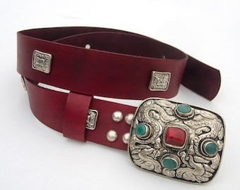 Women's Leather Belt, Hippie leather belt, Nepalese leather belt, Tribal leather belt,  Fashion belt