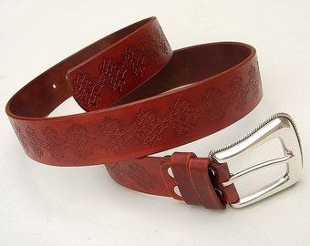 Mens leather belt, Celtic belt, Hand dyed and stamped, Genuine leather belt for men or women