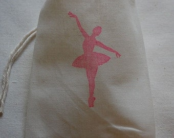 10 Ballerina muslin cotton party favor bags 4x6 inch great for birthday party, cotton pouch, favor bags, gift bags, paryt bags, goodie bags