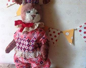 Handmade toy Teddy rabbit Teddy bear Teddy clown Stuffed teddy Handmade teddy Pink rabbit