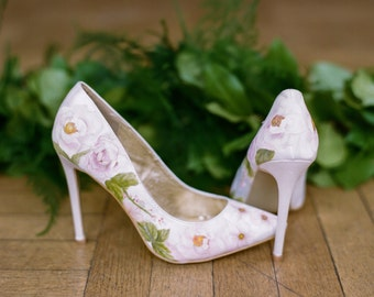 Pink Garden Rose Hand-painted floral print custom Wedding Shoes